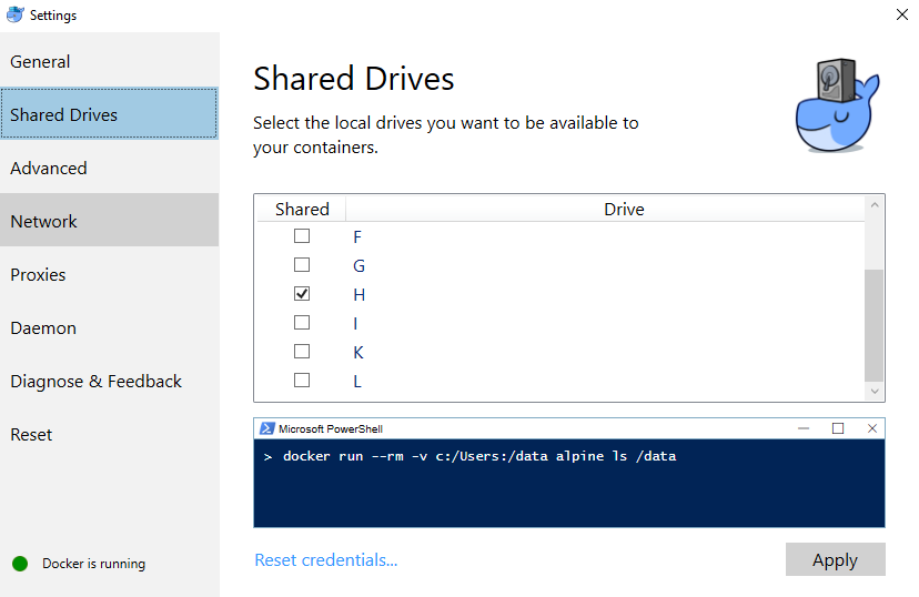 docker shared drives settings